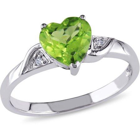 Gold Peridot Heart - 1-1/3 Carat T.G.W. Peridot and Diamond-Accent 10kt White Gold Heart Ring