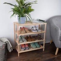 Wood Shoe Rack, Storage Bench – Closet, Bathroom, Kitchen, Entry Organizer, 4-Tier Space Saver Shoe Rack by Lavish Home