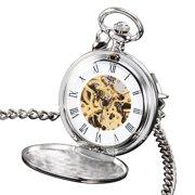 004a5fc74 Hand Winding Mechanical Pocket Watch Full Hunter Silver Case Gold Mens Gift