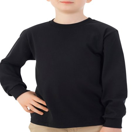 Fruit of the Loom Long Sleeve Crew T-Shirt with Rib Cuffs (Little Boys & Big - Hugo Boss Black Shirt