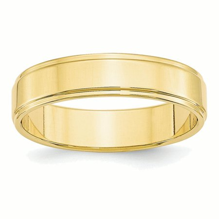 10k Yellow Gold 5mm Flat w/Step Edge Band Ring