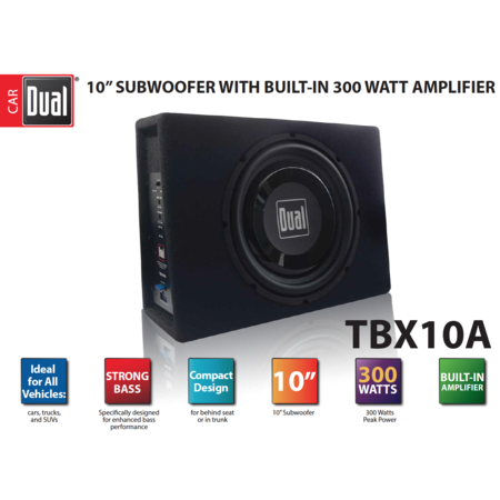 Dual Electronics TBX10A 10 inch Shallow High Performance Powered Enclosed Subwoofer with Built-In Amplifier & 300 Watts of Peak (Peak Dual Power Supply)