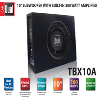 Dual Electronics TBX10A 10 inch Shallow High Performance Powered Enclosed Subwoofer with Built-In Amplifier & 300 Watts of Peak Power