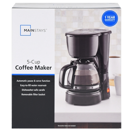 Mainstays 5 Cup Black Coffee Maker with Removable Filter -