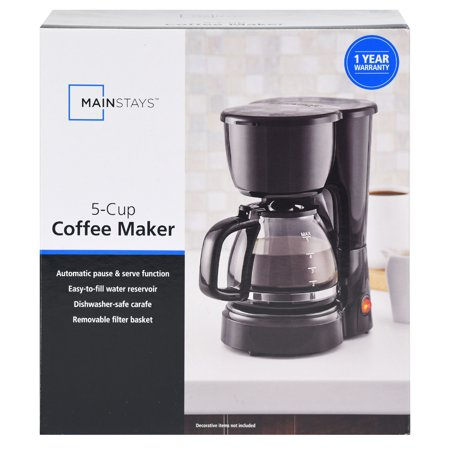 Mainstays 5 Cup Black Coffee Maker with Removable Filter