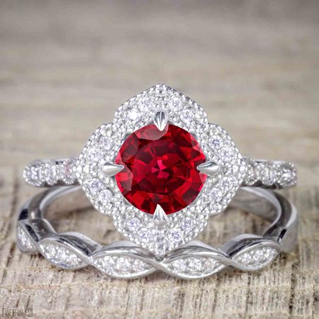 Unique 2 Carat Ruby and Diamond Halo Wedding Ring Set for Her in White Gold](Unique Wedding)