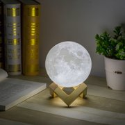 Usb Printing Moon Lunar Led Night Light Lamp With Wooden Stand Rechargeable 12 Cm Diameter