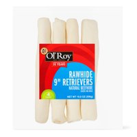 """Ol' Roy Rawhide 9"""" Retrievers Beefhide Chews for Dogs, 10.8 oz, 4 Count"""