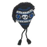 d5fdfc868d8 Aquarius Boys Black   Blue Skull Print Mohawk Hat Fringe Peruvian Style  Trapper