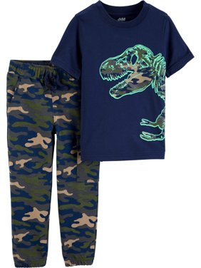 Child of Mine by Carter's Short Sleeve Graphic T-Shirt & Jogger Pants, 2-Piece Outfit Set (Toddler Boys)