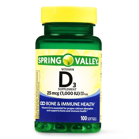 - (2 Pack) Spring Valley Vitamin D3 Softgels, 1000 IU, 100 Ct