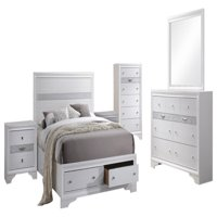 Tokyo 6 Piece Bedroom Set, King, White Wood, Contemporary (Storage Panel Bed, Dresser, Mirror, Chest, 2 Nightstands)
