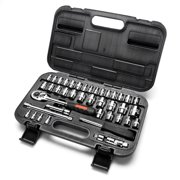 MAXPOWER 42-Piece 1/4'& 3/8'Dr. Socket Wrench Set With Included Sockets, Ratchet Handle, Extension Bars, Universal Joint, Adapter, Spinner Handle, and Carrying Case