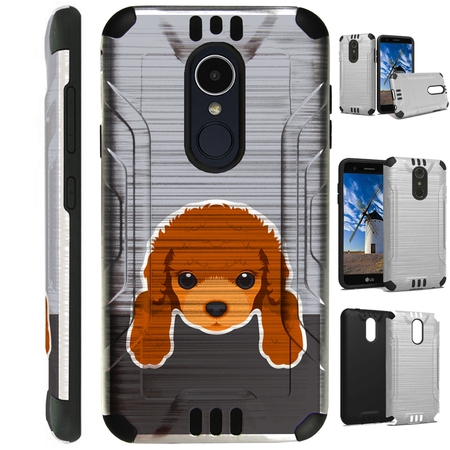 For LG Stylo 3 | LG Stylo 3 Plus  Case Brushed Metal Texture Hybrid TPU Silver Guard Phone Cover (Cute Dog (Best Brush For Poodles)