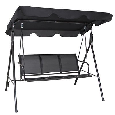 Gymax Black Outdoor Swing Canopy Patio Swing Chair 3 Person Canopy Hammock - image 5 of 7