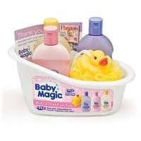 Baby Magic Rub-A-Dub Fun Tub Kit- Original Lotion, Calming Bath, Powder Scent Hair & Body Wash, Duck Pouf
