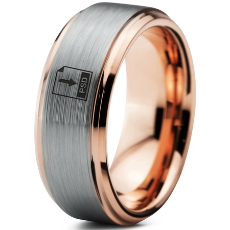 Photoshop Psd Files - Tungsten Photoshop PSD File Band Ring 8mm Men Women Comfort Fit 18k Rose Gold Step Bevel Edge Brushed Polished