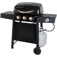 RevoAce 3-Burner Gas Grill with Side Burner, Black