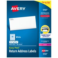"Avery® Easy Peel® Return Address Labels, Sure Feed™ Technology, Permanent Adhesive, 1/2"" x 1-3/4"", 8,000 Labels (5167)"