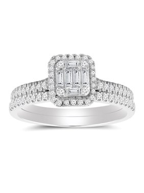 1/2 cttw Emerald Shape Halo Diamond Baguette Composite Bridal Ring Set (I-J, I2-I3) in 10K White Gold for Engagement and Wedding