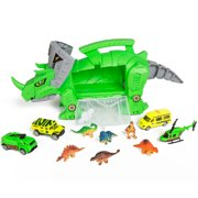 Best Choice Products Kids Triceratops Toy Car Carrier Holder w/ Carrying Handle, Wheels, 4 Vehicles, 4 Dinosaurs - Green