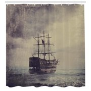 Nautical Shower Curtain Old Pirate Ship In The Sea Historical Legend Cruise Retro Voyage Grunge