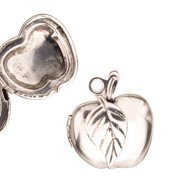 Apple Locket Pendant Antique-Silver Plated Fits Two 15x15mm Photos 26.5x23mm Sold per pkg of pack For 2