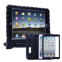 HDE iPad 2017 9.7-inch Bumper Case for Kids Shockproof Hard Cover Handle Stand with Built in Screen Protector for 5th Generation Apple iPad 9.7 inch (Black, March 2017 Release)