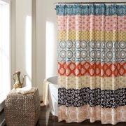 Bohemian Stripe Shower Curtain Turquoise Orange