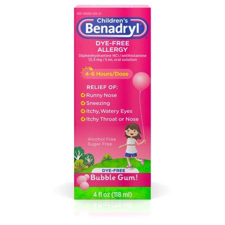 Children's Benadryl Dye-Free Allergy Liquid, Bubble Gum, 4 fl. oz Benadryl Dye Free Allergy Relief