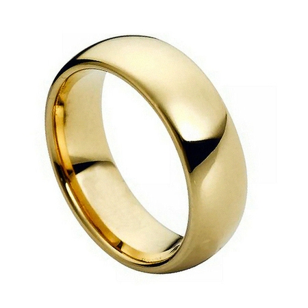 7mm - For Men or Ladies High Polish Gold Plated Classic Dome Tungsten Carbide Wedding Band Ring