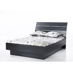 Laguna Queen Platform Bed With Headboard (Black Woodgrain)