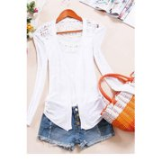 Women Lace Designed Upper Wearing Shirt and Blouse White