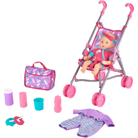 Kid connection 9-piece baby doll stroller set, purple & (Doll Carriage Stroller)