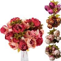 CUH Peony Artificial Flowers Arrangements Silk Bulk Bouquet for Bedding Wedding Office Living Room Meeting Room Garden Floral