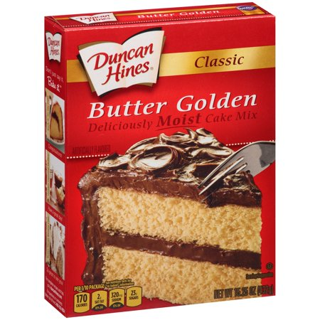 (2 Pack) Duncan Hines Classic Butter Golden Cake Mix, 15.25 (Peanut Butter Cake Recipe With Cake Mix)