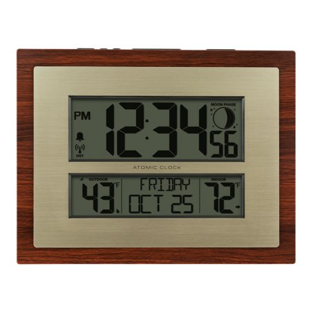 Better Homes & Gardens Atomic Digital Clock with Moon Phase & Calendar Covert Wall Clock Camera