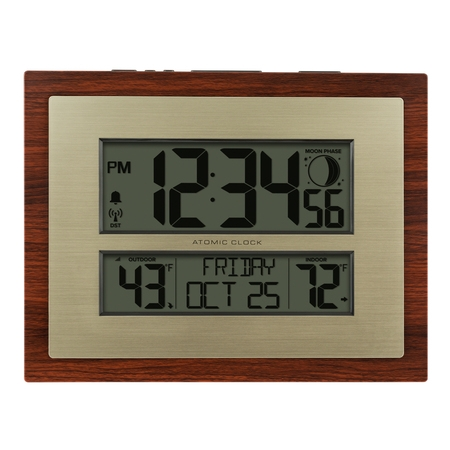 Better Homes & Gardens W86111 Atomic Digital Clock with Moon Phase & Calendar