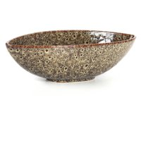 Elegant Expressions by Hosley Decorative Oval Ceramic Bowl, Peacock-Feather Pattern