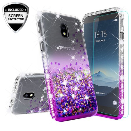 - Samsung Galaxy J7 Star Case,J7 Crown Case,J7v 2nd Gen,J7 2018,J7 Refine Case w/[Tempered Glass] Cute Liquid Glitter Quicksand Bling Diamond Bumper Shock Proof Phone Case - Purple/Clear