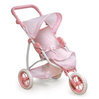 "Badger Basket Folding Three Wheel Doll Jogging Stroller - Pink/Gingham - Fits American Girl, My Life As & Most 18"" Dolls"