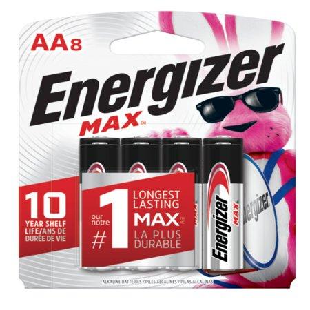 Energizer MAX Alkaline, AA Batteries, 8 Pack (Petite/8 Pack)