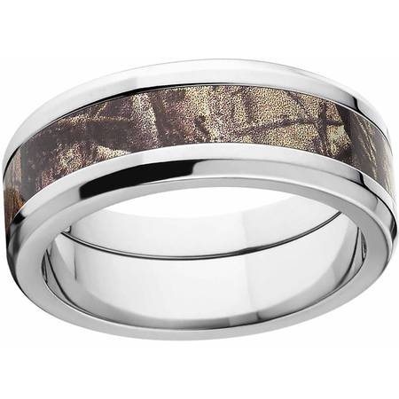 AP Men's Camo 8mm Stainless Steel Wedding Band with Polished Edges and Deluxe Comfort - Camouflage Jewelry