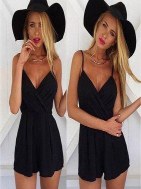 EFINNY Summer New Women Ladies Black V Neck Halter Loose Jumpsuit Shorts Evening Party Playsuit Rompers