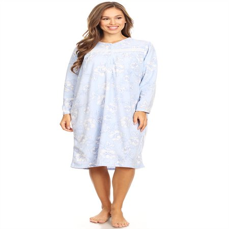 4026 Fleece Womens Nightgown Sleepwear Pajamas Woman Long Sleeve Sleep Dress Nightshirt Blue 1X - Long Gown Sleepwear