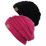 C.C Trendy Warm Chunky Soft Stretch Cable Knit Beanie Skully, 2 Pack Black/Hot Pink
