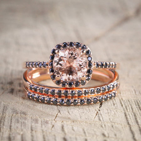 Black Diamond Gold Wedding Rings - 2 carat Morganite and Black Diamond Trio Wedding Bridal Ring Set in 10k Rose Gold with Engagement Ring and 2 Wedding Bands