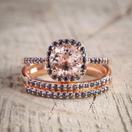 2 carat Morganite and Black Diamond Trio Wedding Bridal Ring Set in 10k Rose Gold with Engagement Ring and 2 Wedding - Black Diamond Gold Wedding Rings