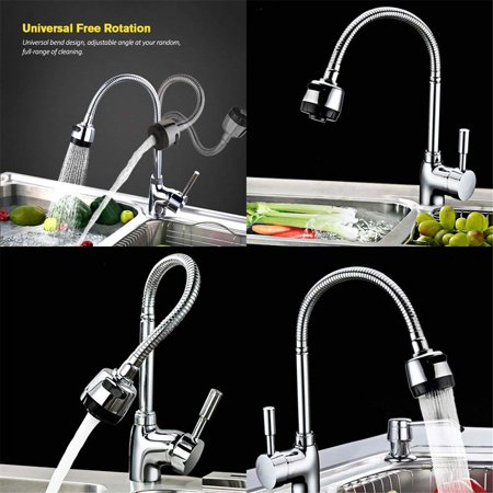 360° Rotating Flexible Single Handle Swive l Spout Sprayer Pull Down Mixer High Arc Kitchen Sink Faucet Tap Hot and Cold mixer Water Faucet for Commercial and Home - Colony Kitchen Sink Faucet