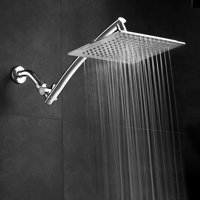 Razor™ by AquaSpa® Mega Size 9-inch Chrome Face Square Rainfall Shower with Arch Design 15-inch Stainless Steel Extension Arm / Premium Chrome